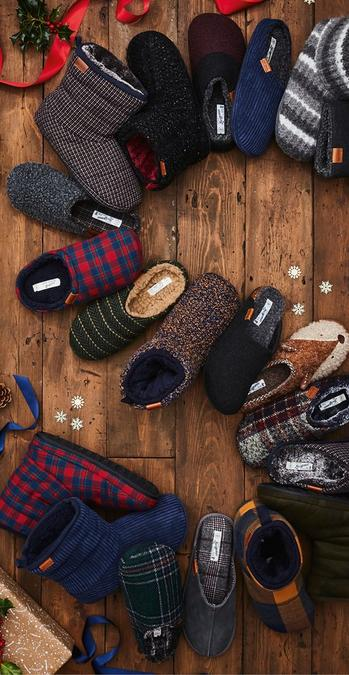 Selection of slippers in different designs and colours.