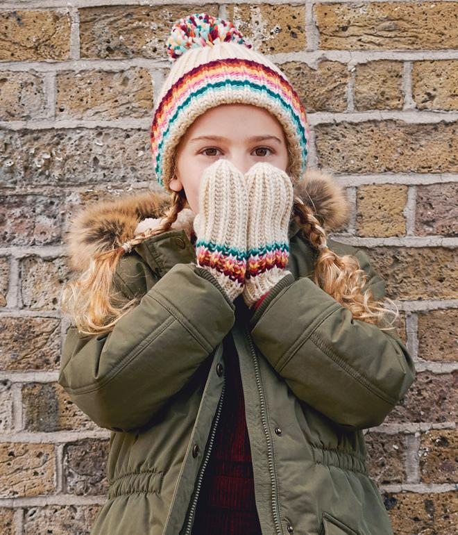 Girl wearing green jacket with wooly gloves and hat covering her mouth