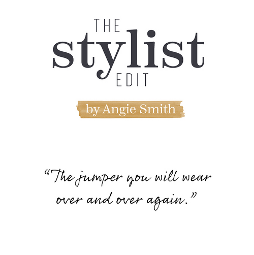 The Stylist Edit by Angie Smith Fatface female model wearing a cream jumper and blue jeans.