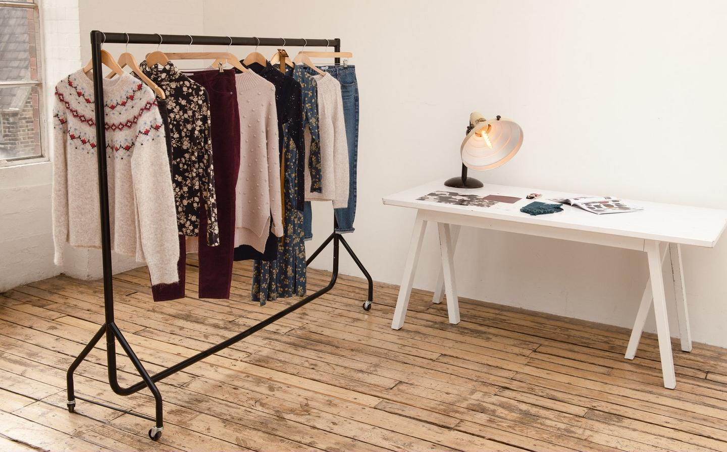 A rack of FatFace clothes, all chosen and styled by UK stylist Angie Smith