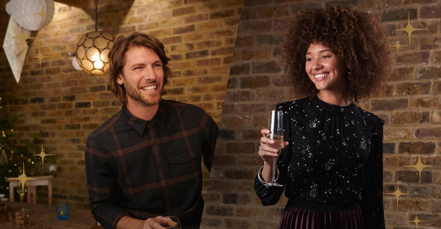 Male model wearing a charcoal check shirt and a female model wearing Female model wearing a lunar sky pattern dress with long sleeves.