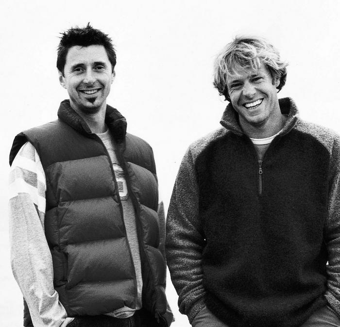 Black and white image of the founders of FatFace, Tim & Jules.