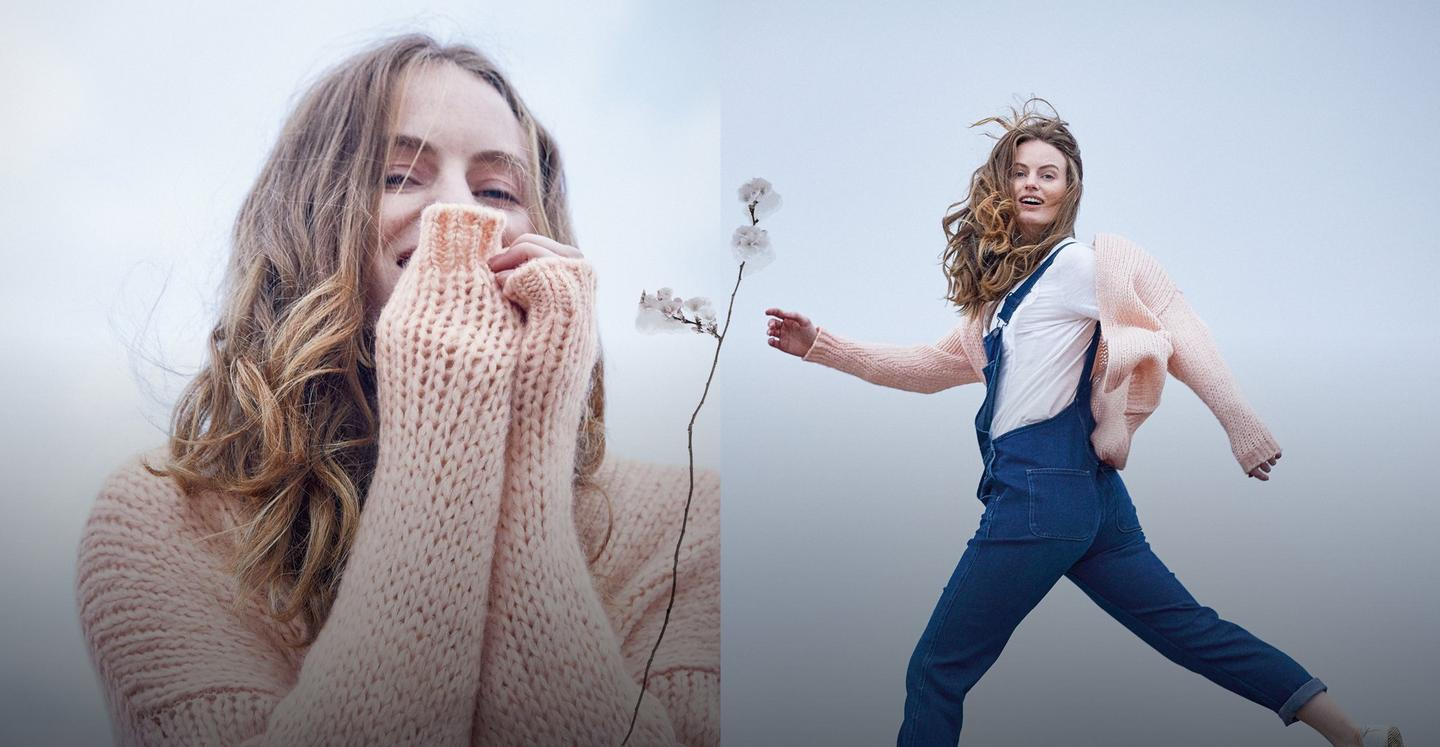 Split image of a female model in pink knit and another female model in blue dungarees as well as a white jersey and a pink cardigan.