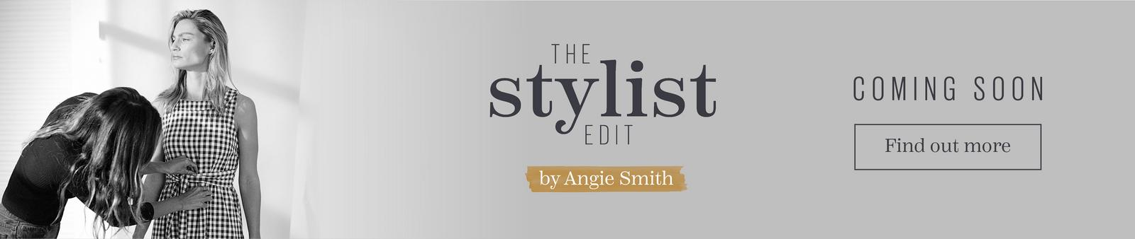 A female model in a gingham dress, being styled by Angie Smith. The Stylist Edit, by Angie Smith. Coming Soon. Find out more.