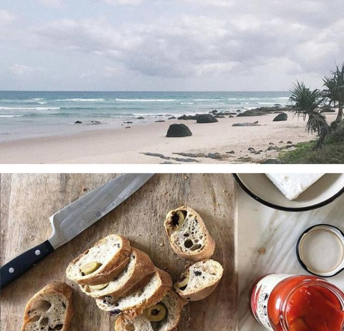 An Australian beach and delicious goodies at a beach cafe.
