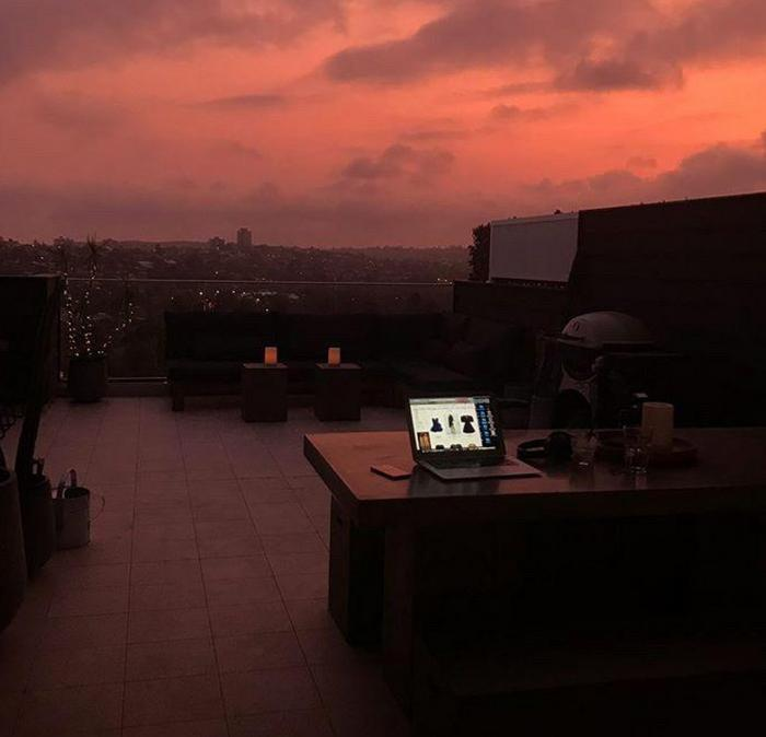 A beautiful Australian sunset while UK stylist Angie Smith works on her balcony.