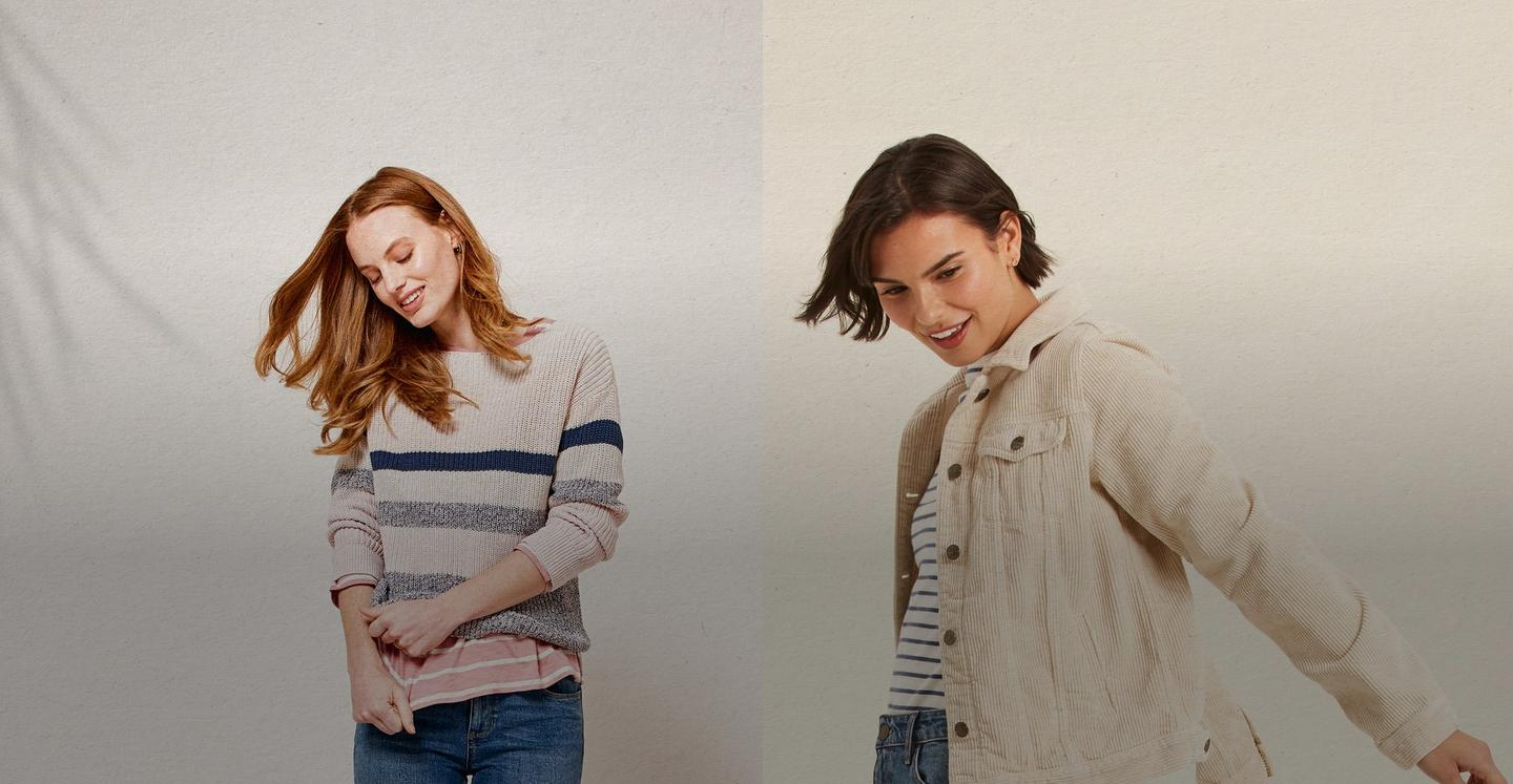 On the left a female model wearing and ivory and pink stripe jumper and on the right a female model wearing an ivory cord jacket.