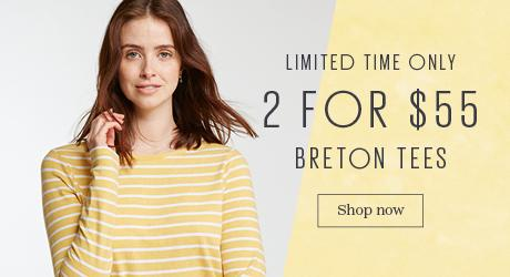 Female model wearing the Breton T-Shirt in daffodil