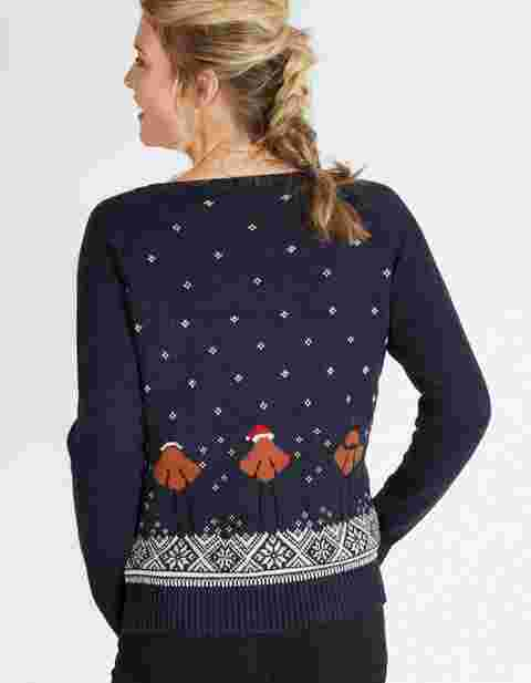 ff58f4a88ed Rocking robins on a warm and cosy knit- now that s how you do a Christmas  jumper! It features raglan sleeves for cosiness