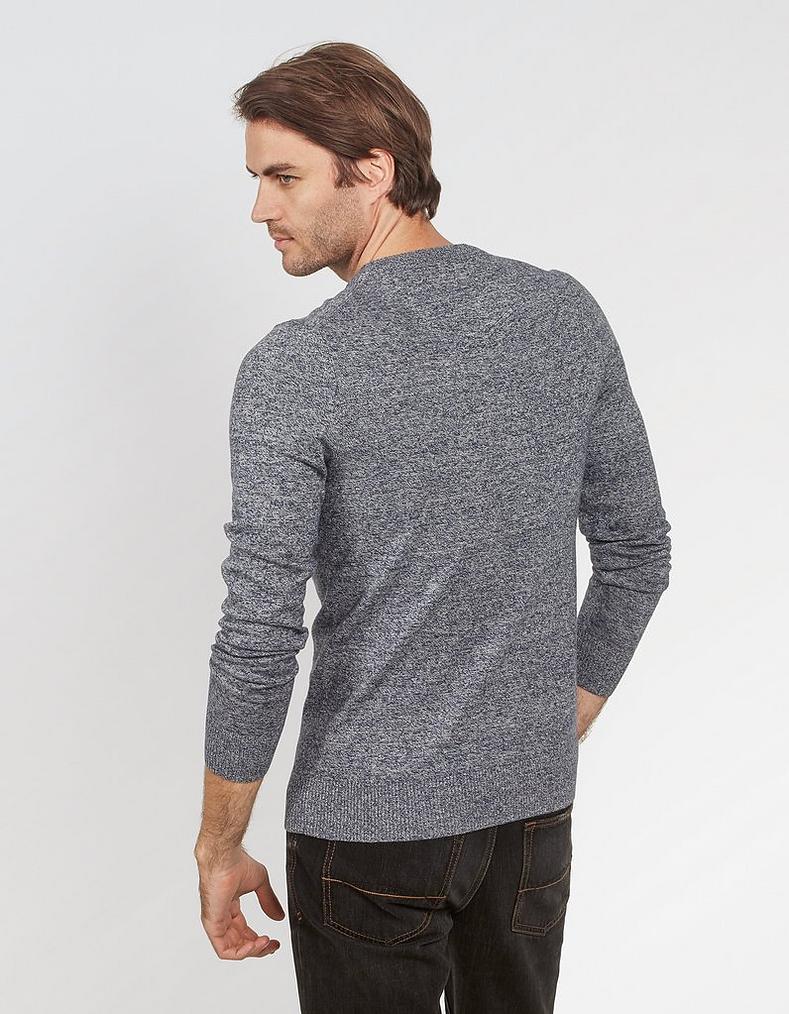 Dark Ink Cotton Cashmere Twisted Crew Neck Sweater 6bad85531