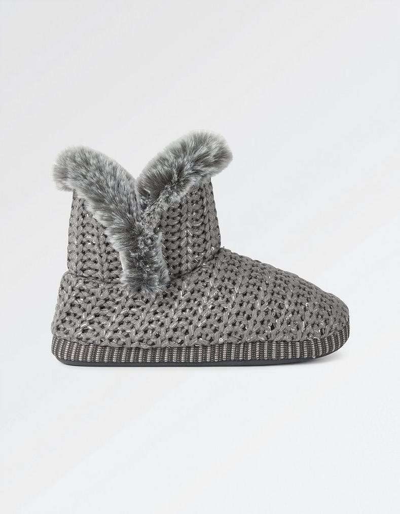 Jessie Lurex Knit Slipper Boots Footwear Fatface