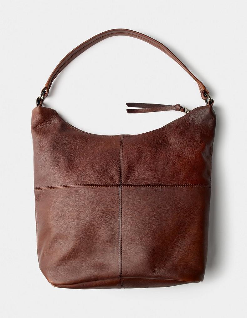 2039f5ada025 Chocolate Amelia Leather Slouchy Shoulder Bag