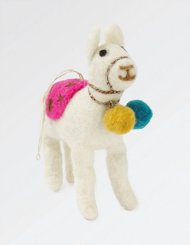 felt llama christmas tree decoration