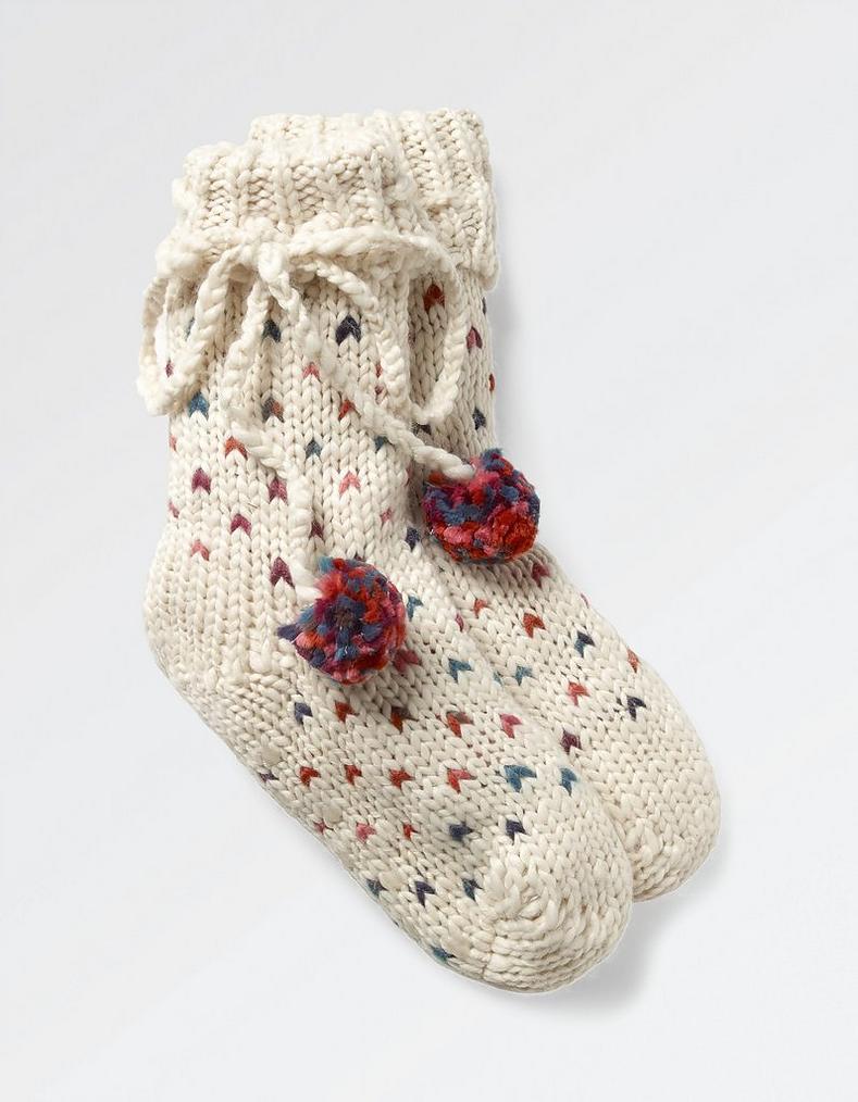 Cream V Knit Bed Socks, Underwear & Socks | FatFace.com