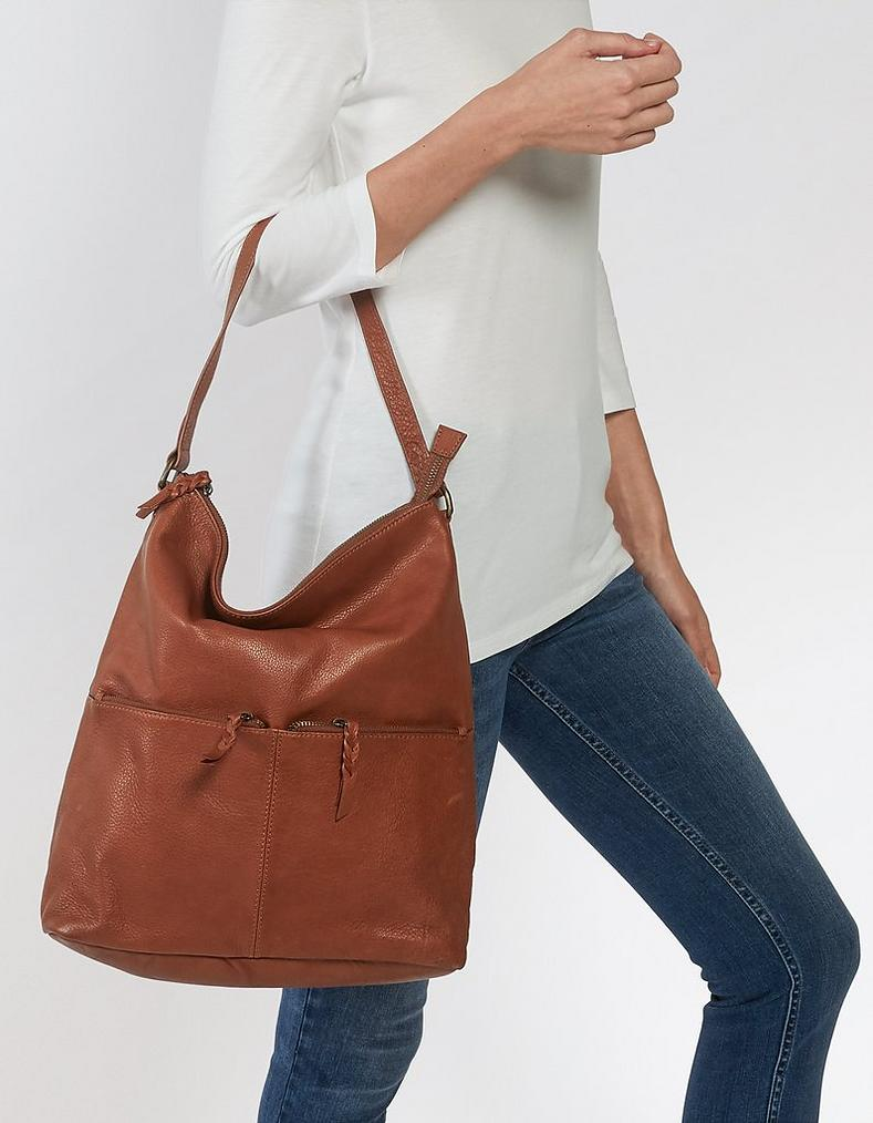 Tan Amy Bucket Leather Tote Bag