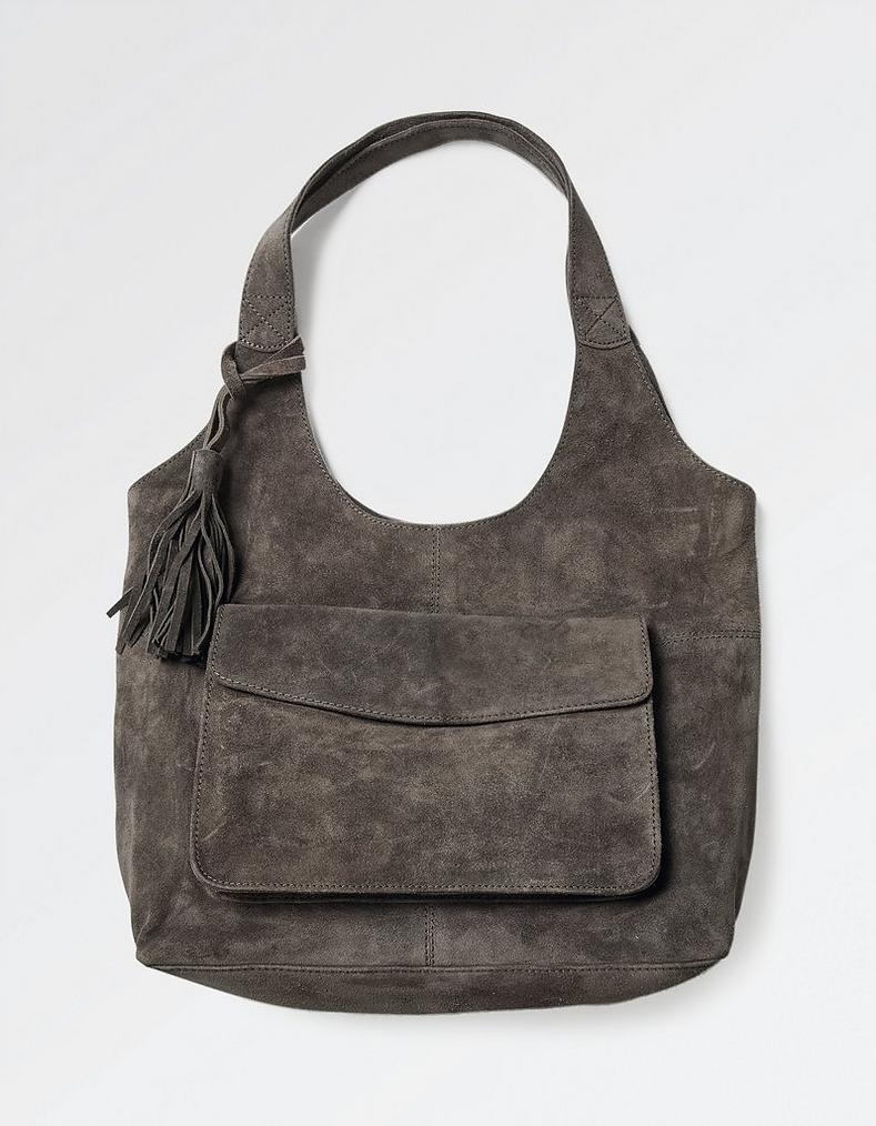 Beautiful Charcoal Helen Suede Hobo Bag, Accessories | FatFace.com MM01