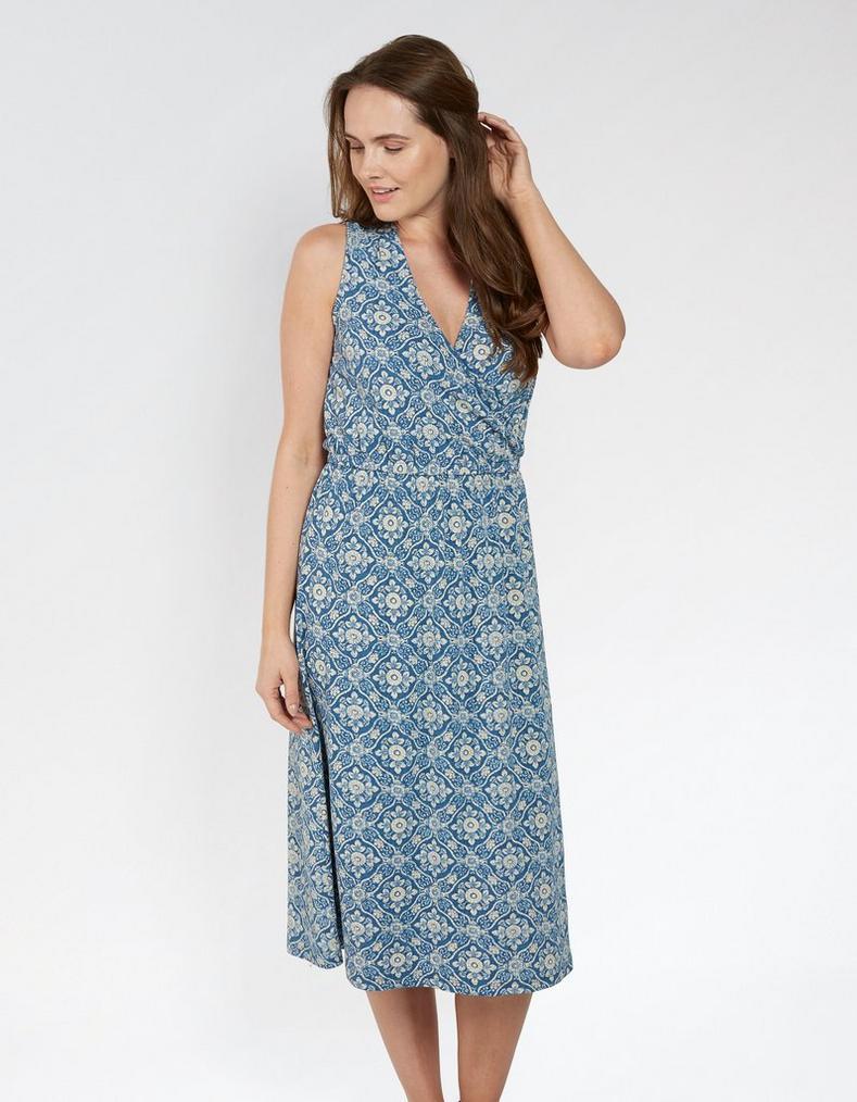 Blair Woodblock Midi Dress, Dresses & Skirts | FatFace.com