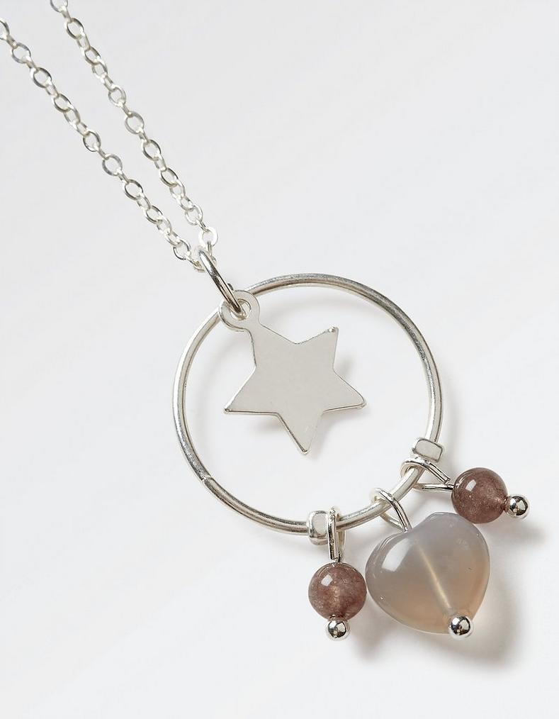 Grey star heart pendant necklace accessories fatface star heart pendant necklace aloadofball Gallery