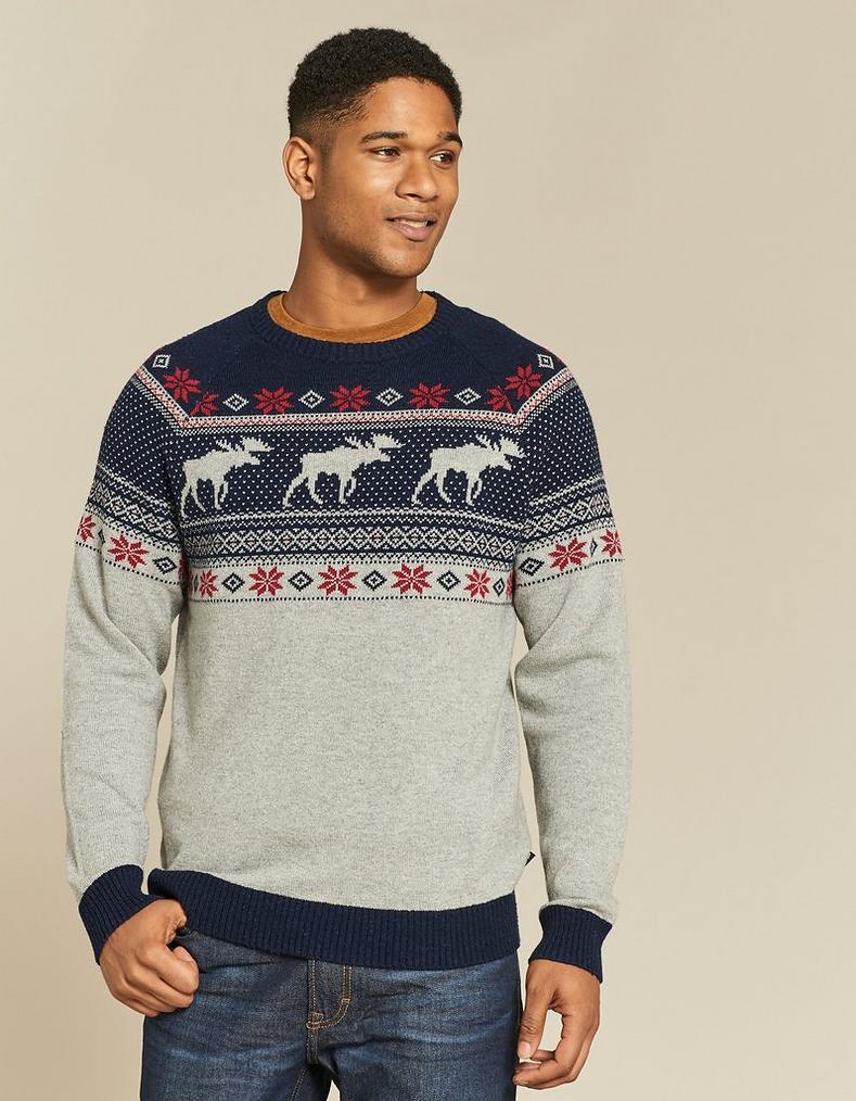 Fair Isle Christmas Sweater.Nutfield Fairisle Crew Neck Christmas Sweater