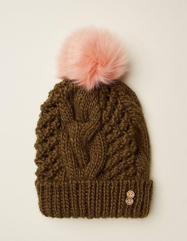 Khaki Cable Knit Beanie 24bc3811e54