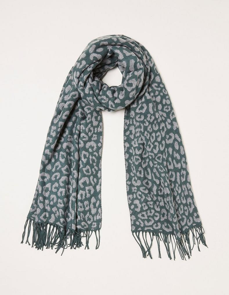 Leopard Print Jacquard Scarf by Fat Face