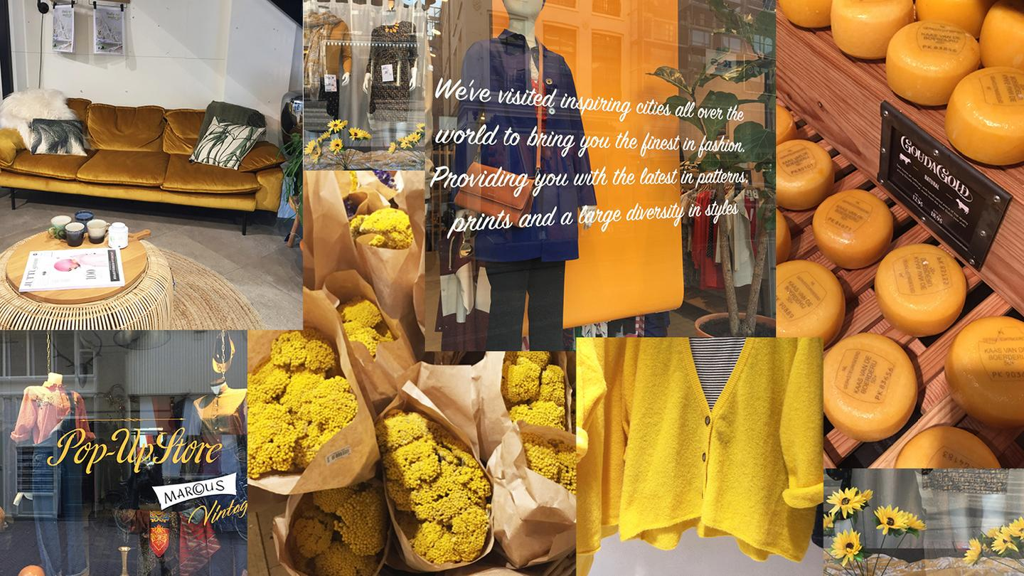 A collection of all the yellow finds in Amsterdam, including cheese and shop window displays