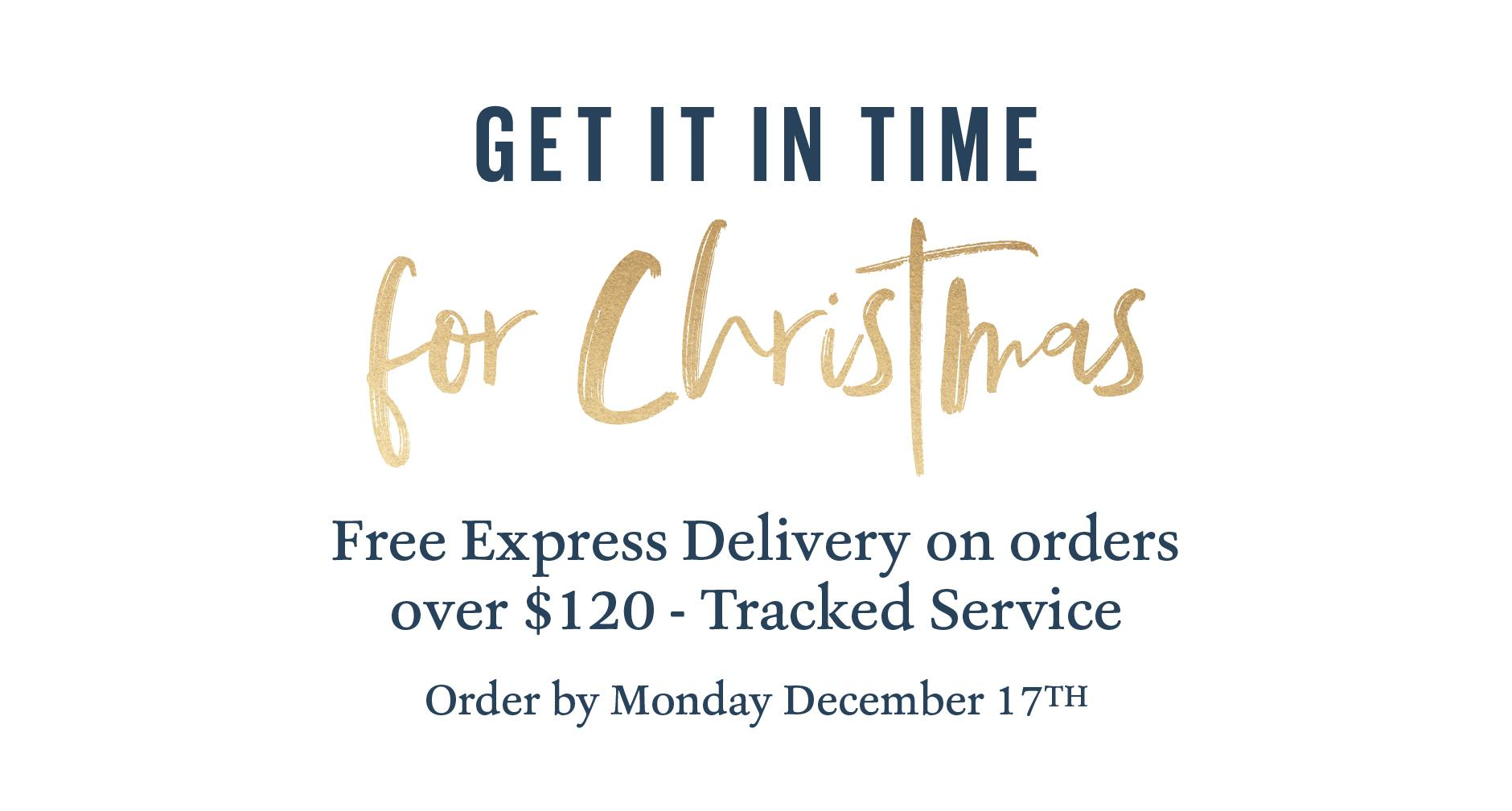 Get it in time for Christmas. FREE EXPRESS DELIVERY ON ORDERS OVER $120 -TRACKED SERVICE ORDER BY MONDAY DECEMBER 17TH