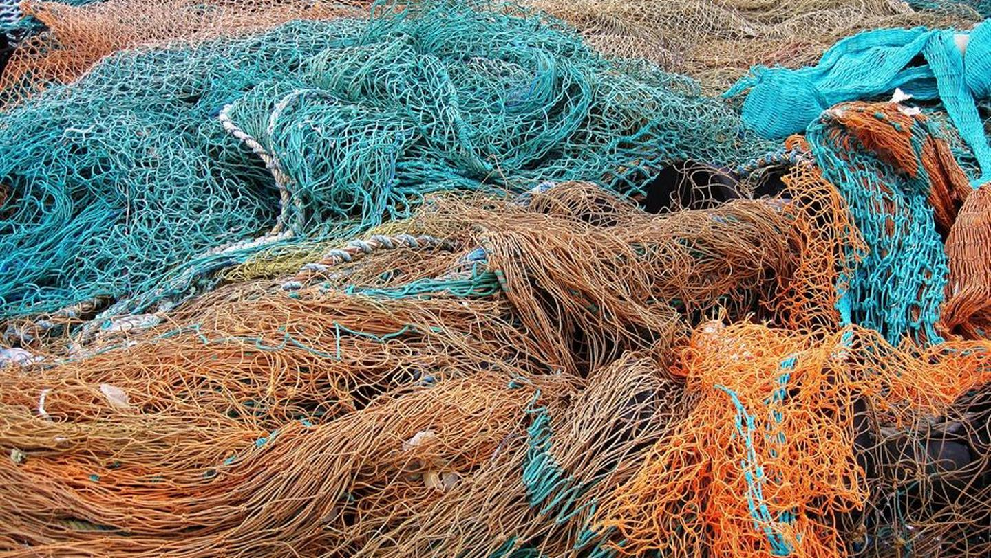 Abandoned ghost fishing nets that have been pulled from the sea