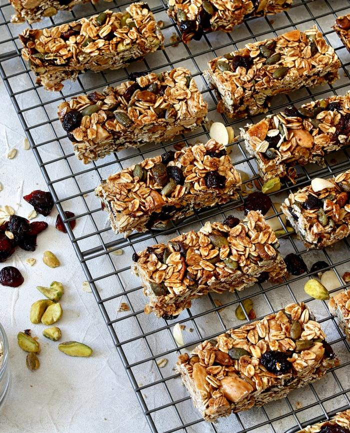 Delicious home made flapjacks with oats, raisins and pistachios.