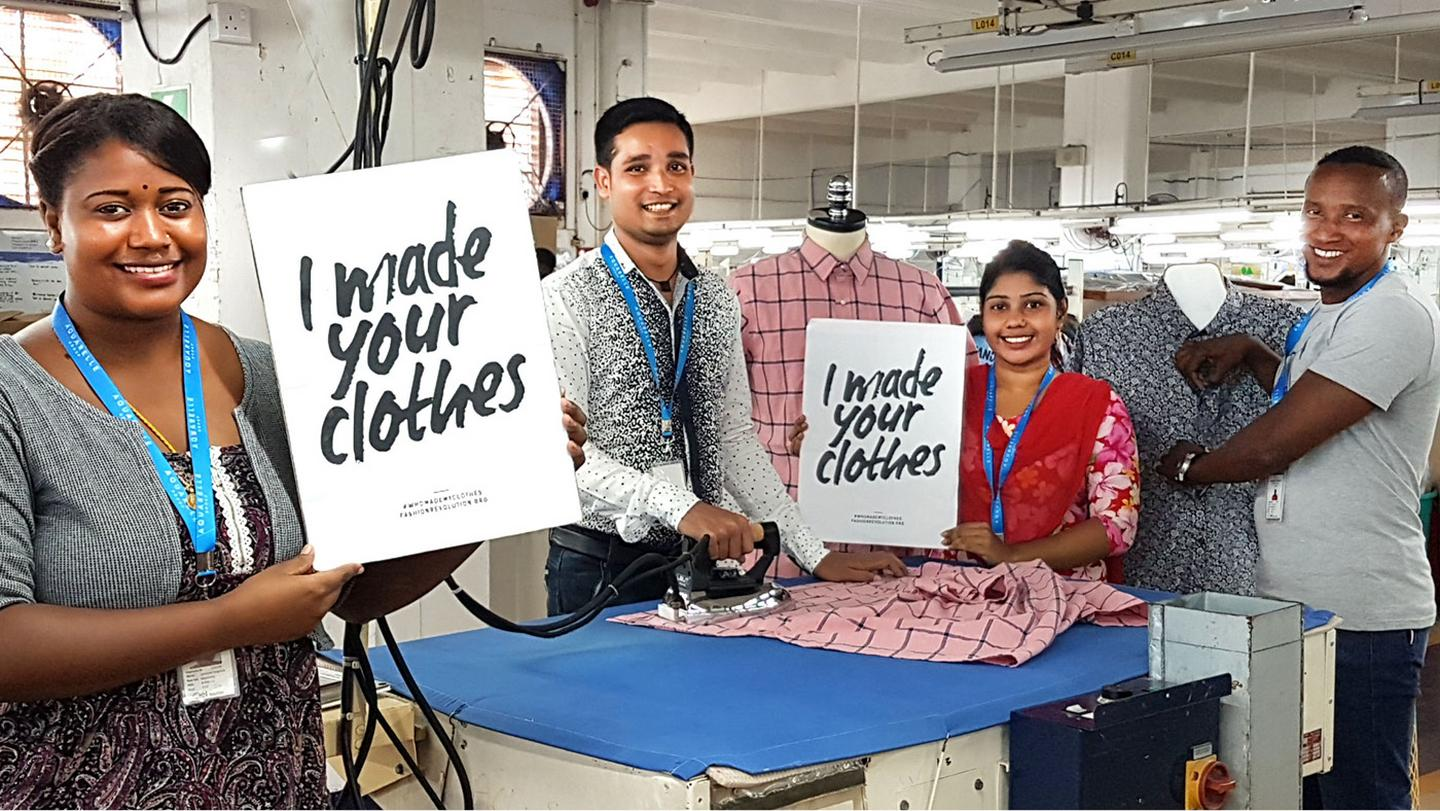 Workers from our factory in Mauritius, creating our check shirt.