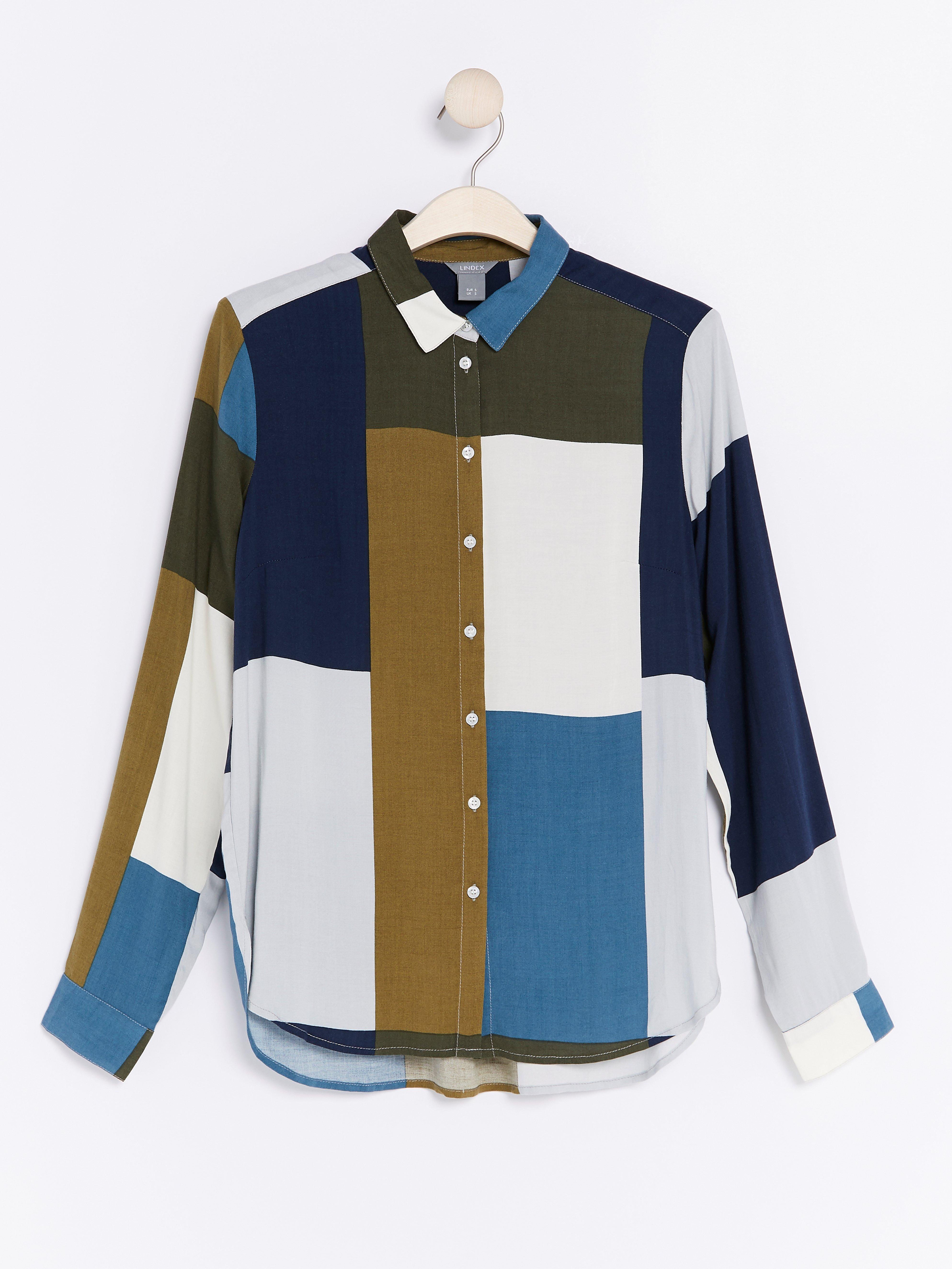 Rutig skjorta i viskos Lindex - Shoppa idag df3b7103dc708