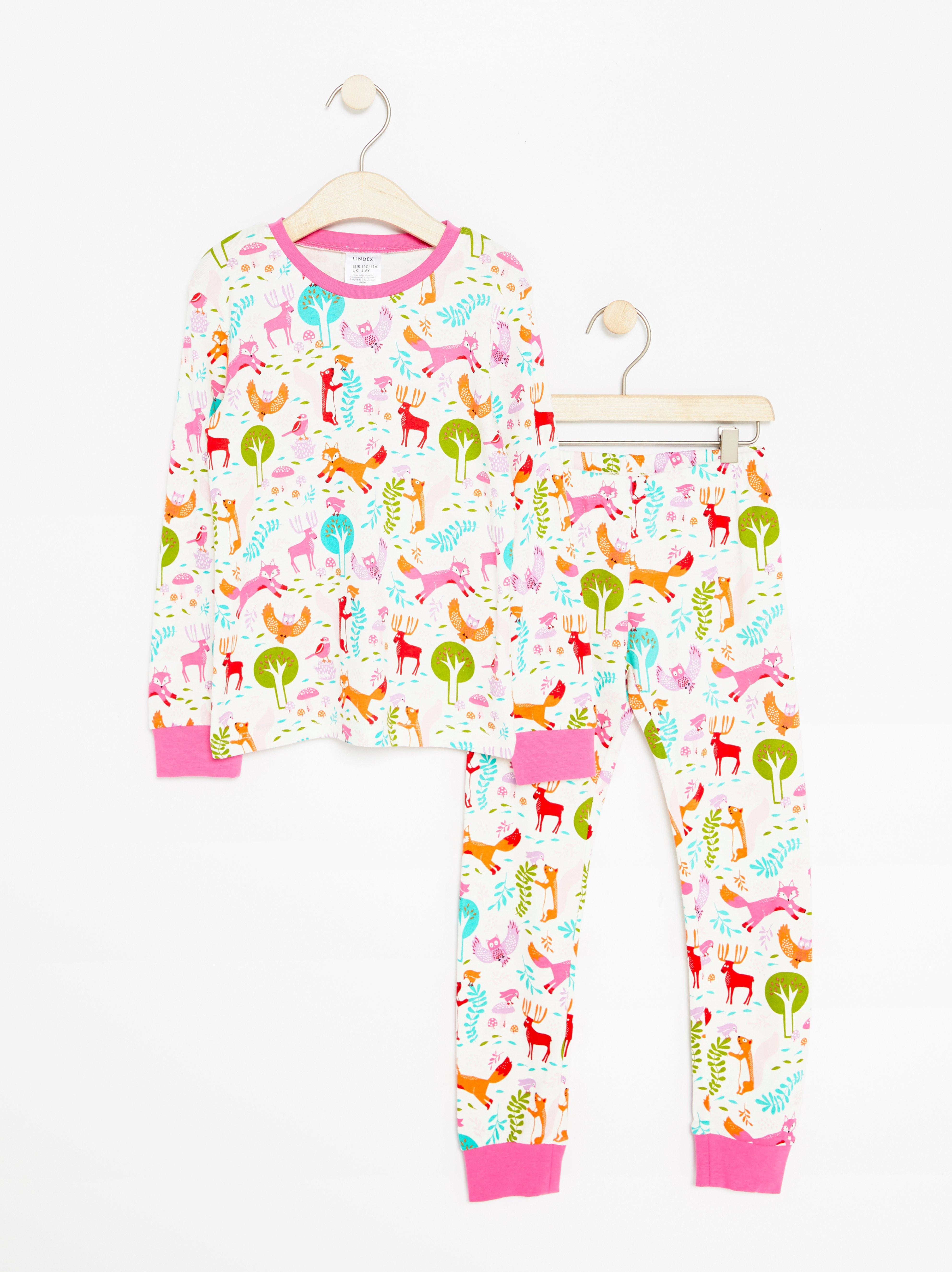 Vit pyjamas med djurmönster Lindex - KompisShopping a1cd1afe45800