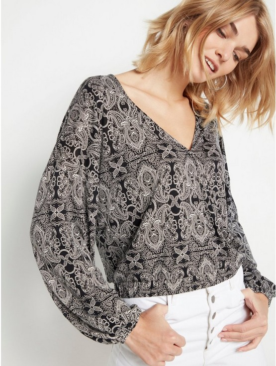000c80c7 Patterned Long Sleeve Top in Lyocell Blend | Lindex.com