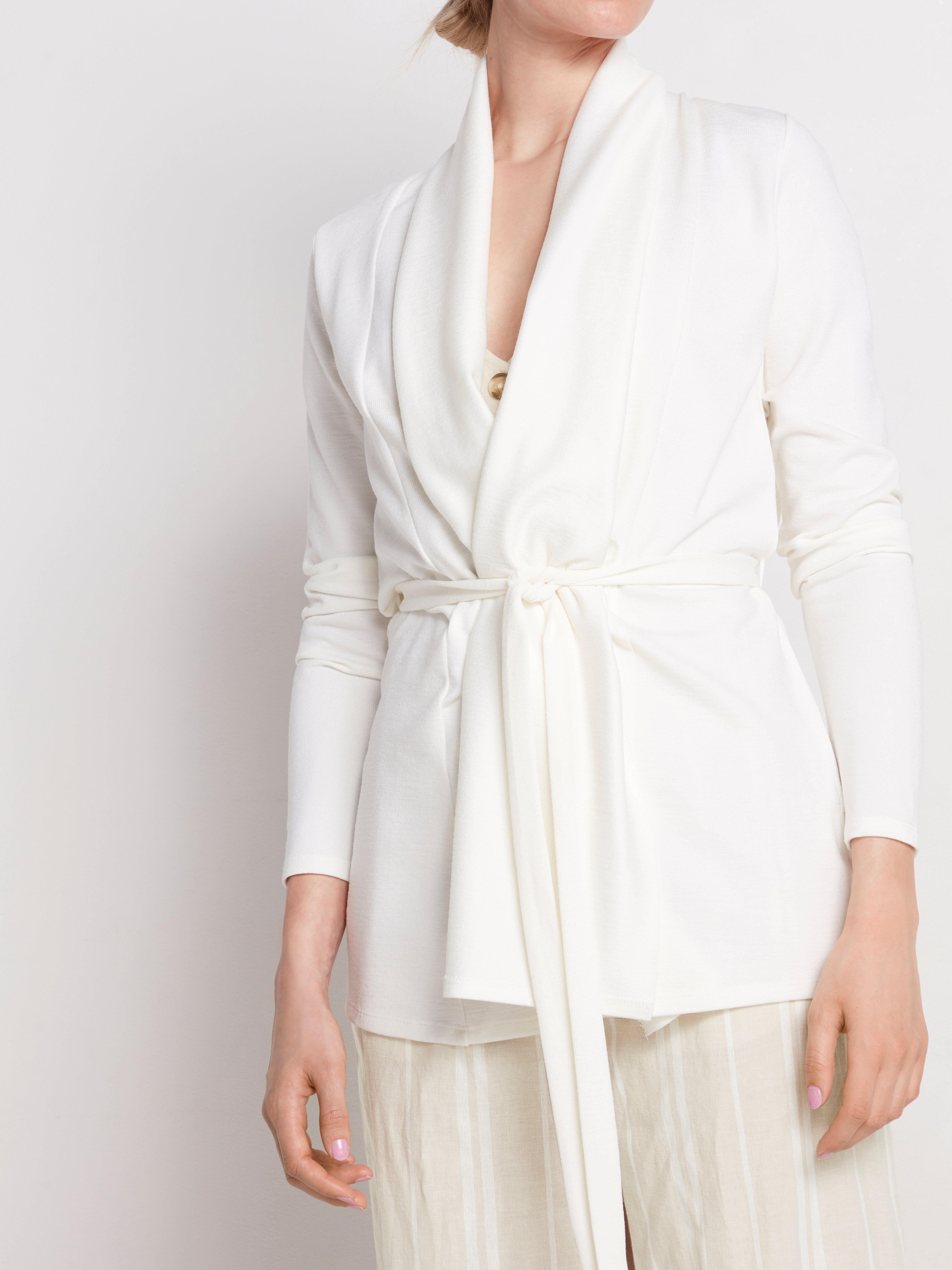 Finstickad vit cardigan med knytskärp