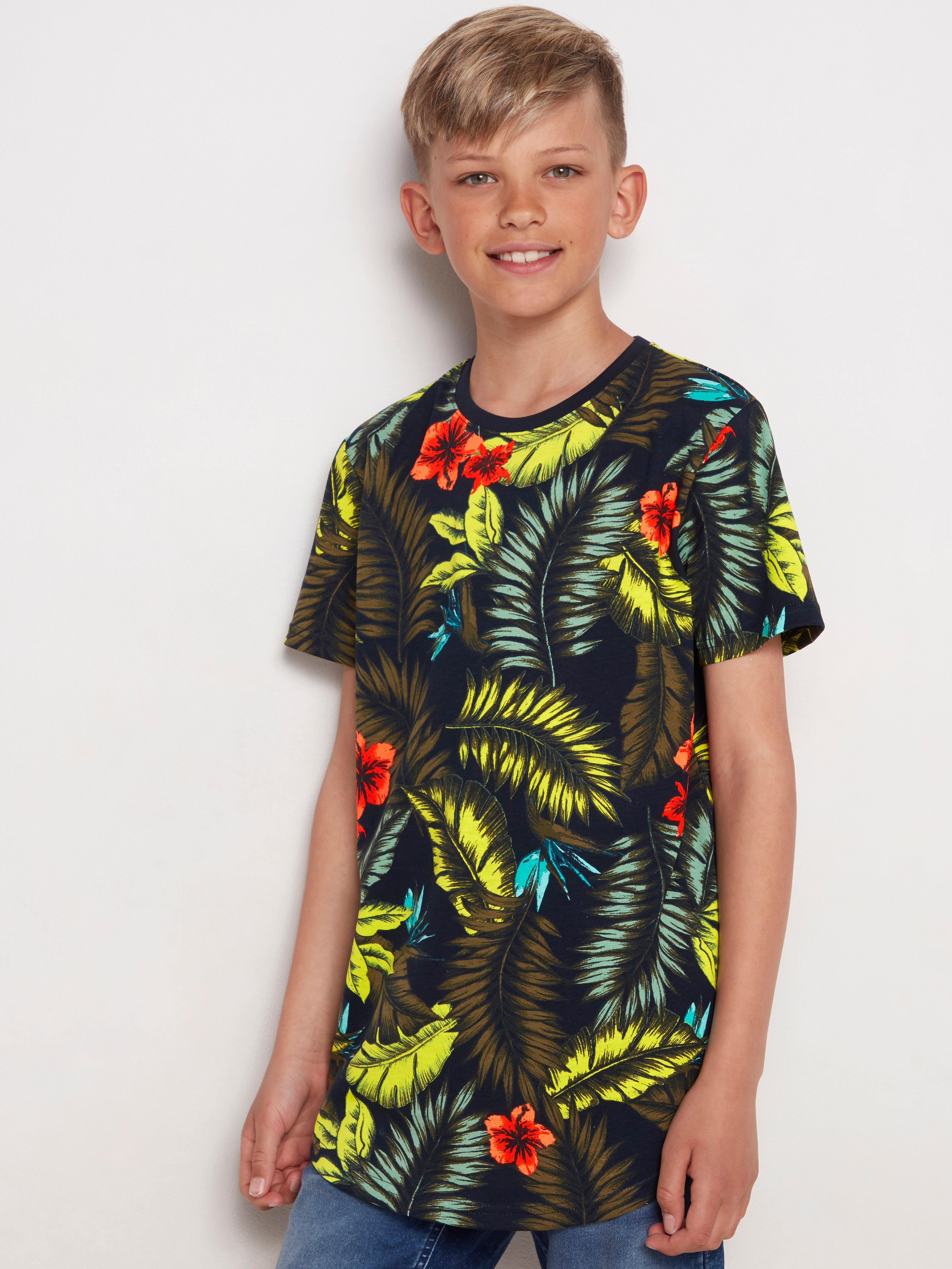 Lång t-shirt med hawaiimönster