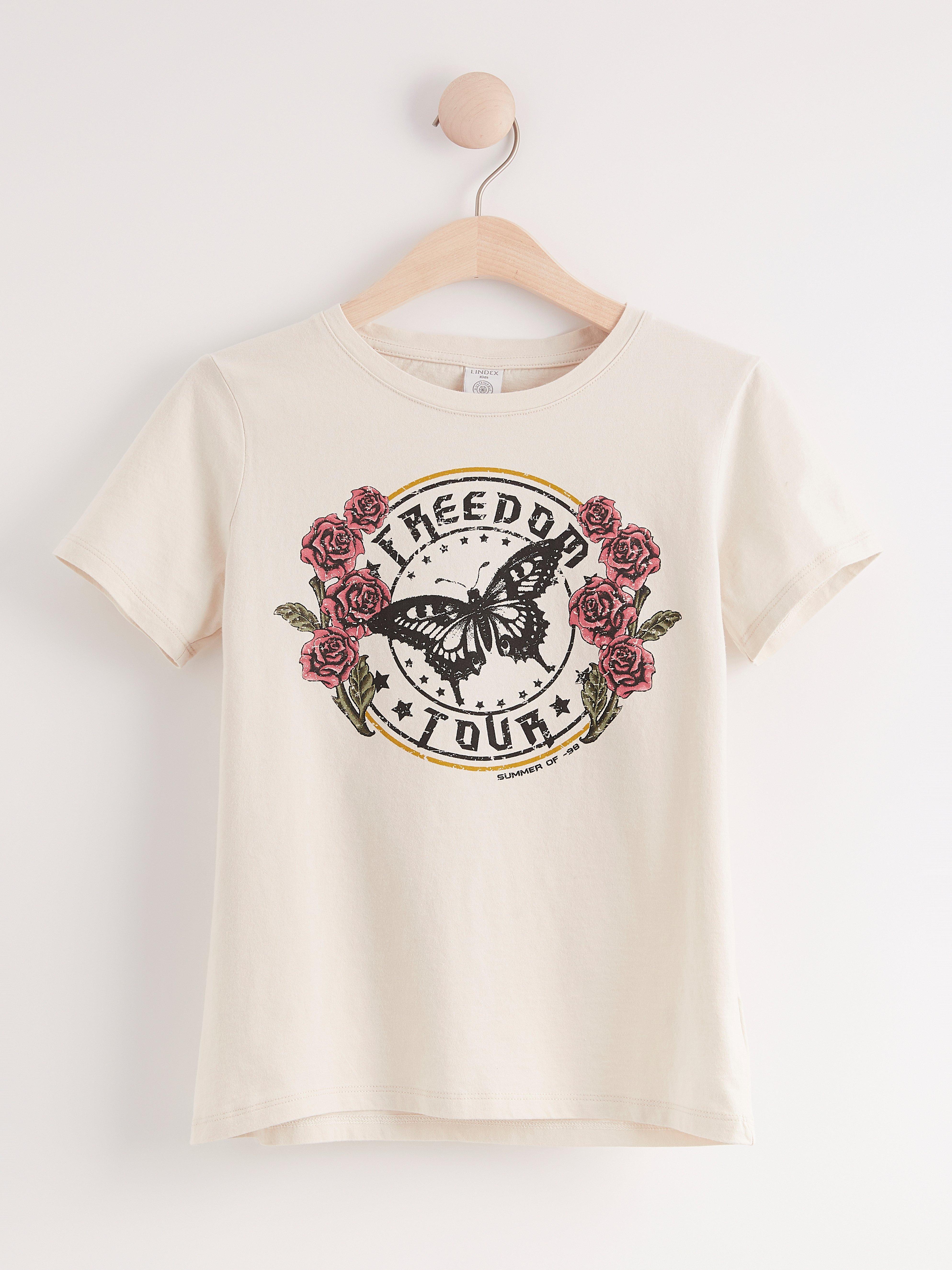 Kortärmad t-shirt med tryck