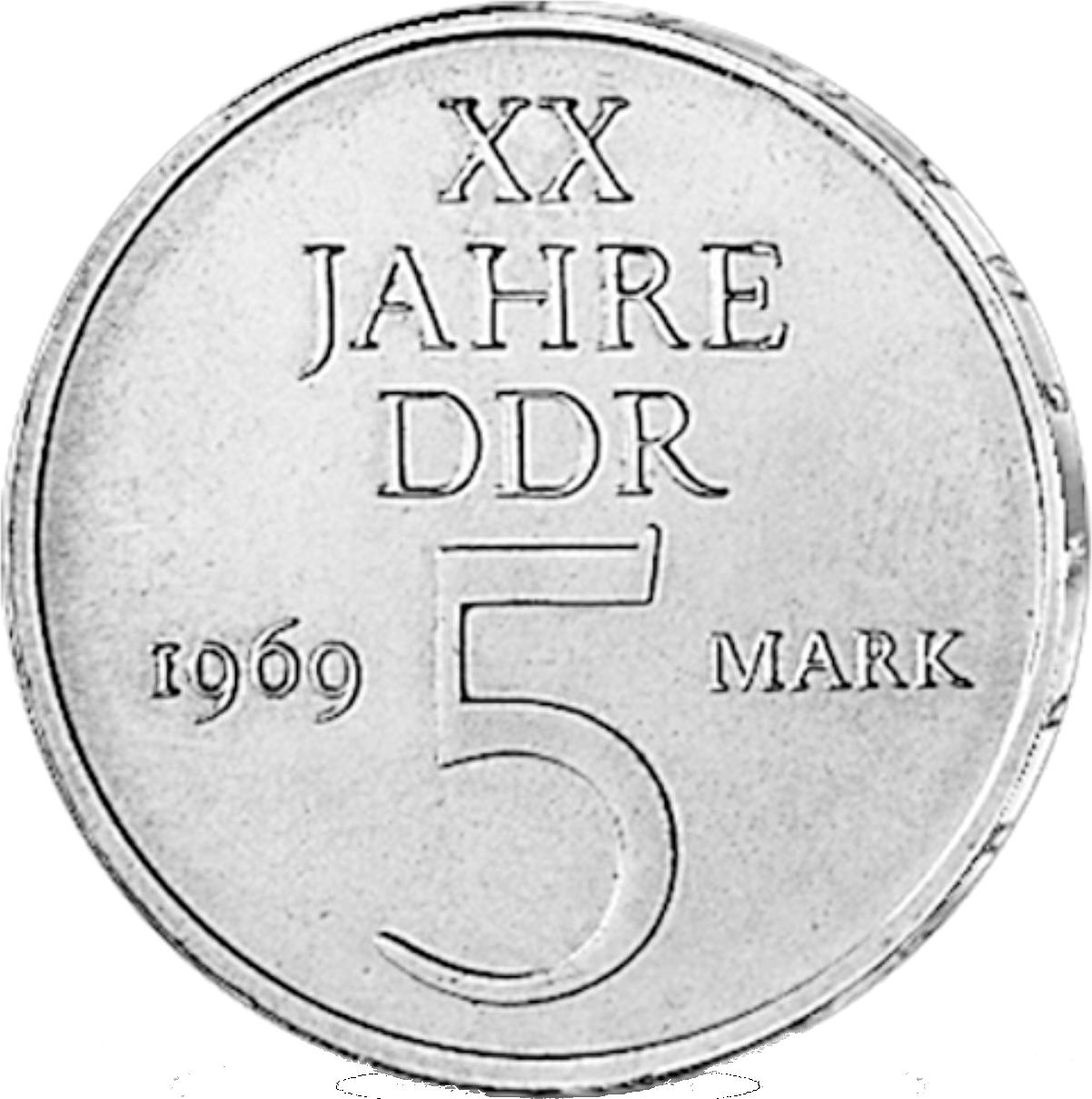 5 Mark Cuni Münze Ddr 20 Jahre Ddr 1969 Münzen Günstigerde