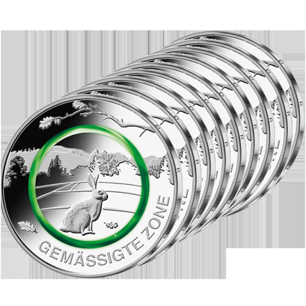 10 X 5 Euro Münze Brd 2019 Gemäßigte Zone Münzen Günstigerde