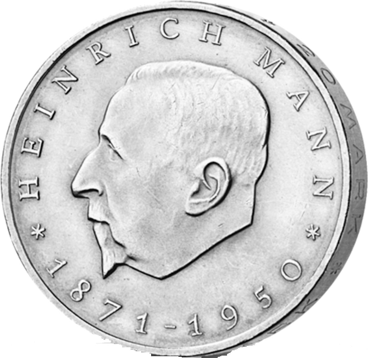 20 Mark Neusilber Heinrich Mann Ddr 1971 Münzen Günstigerde