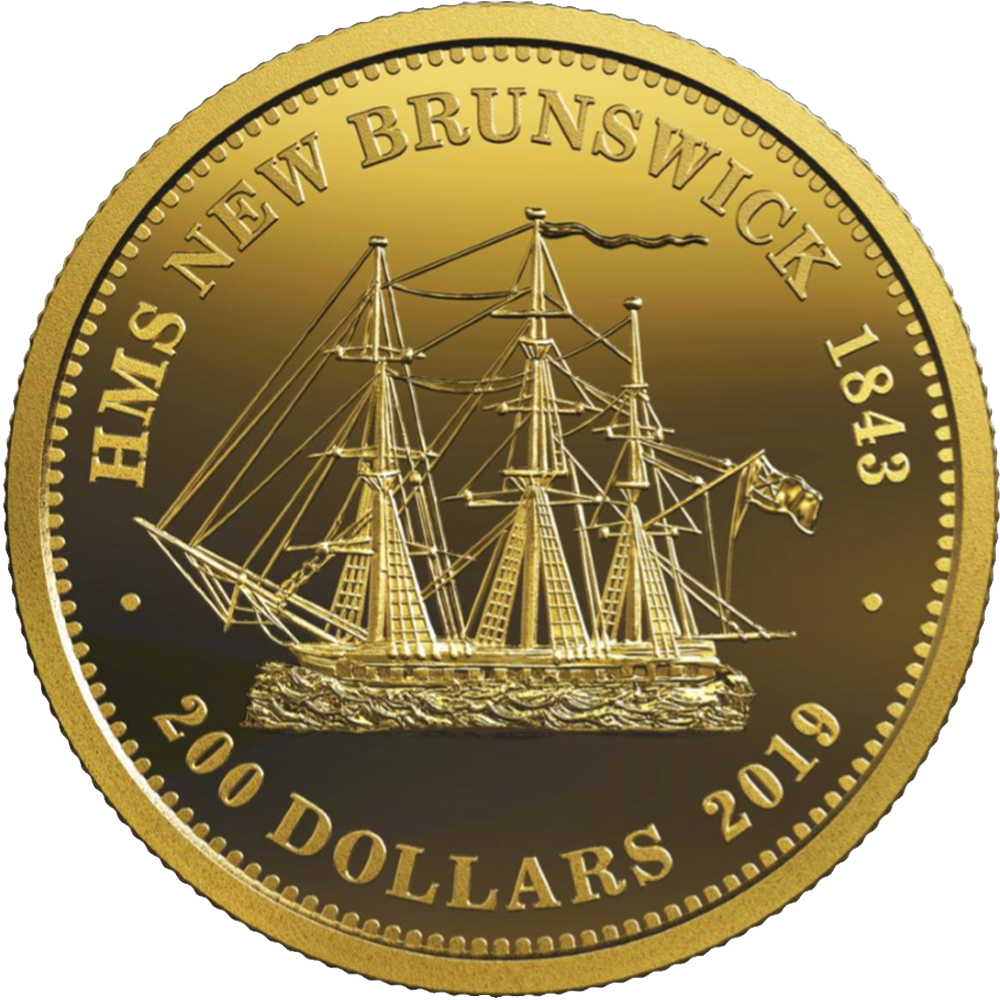 200 CAD Goldmünze Kanada HMS New Brunswick 1843 2019 PP