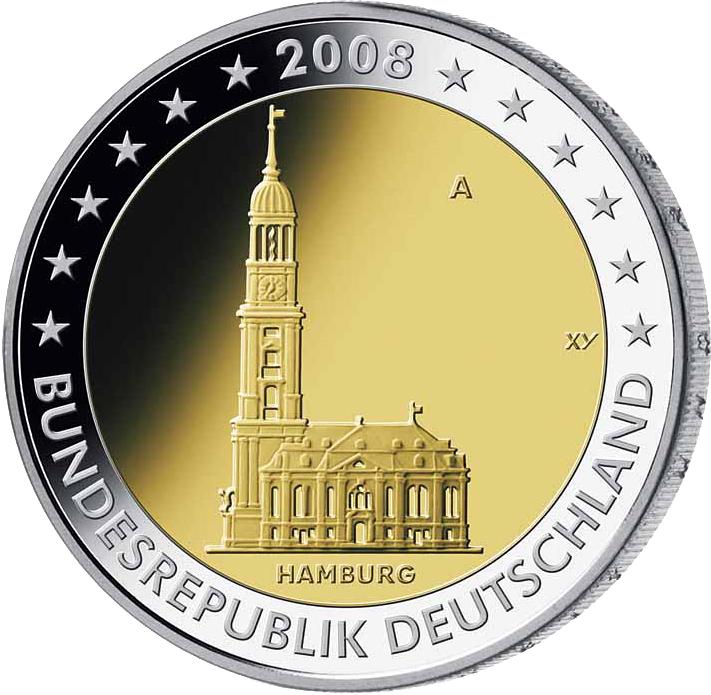 5 X 2 Deutschland 2008 Hamburg Adfgj 2 Euro Münzen Euro Münzen