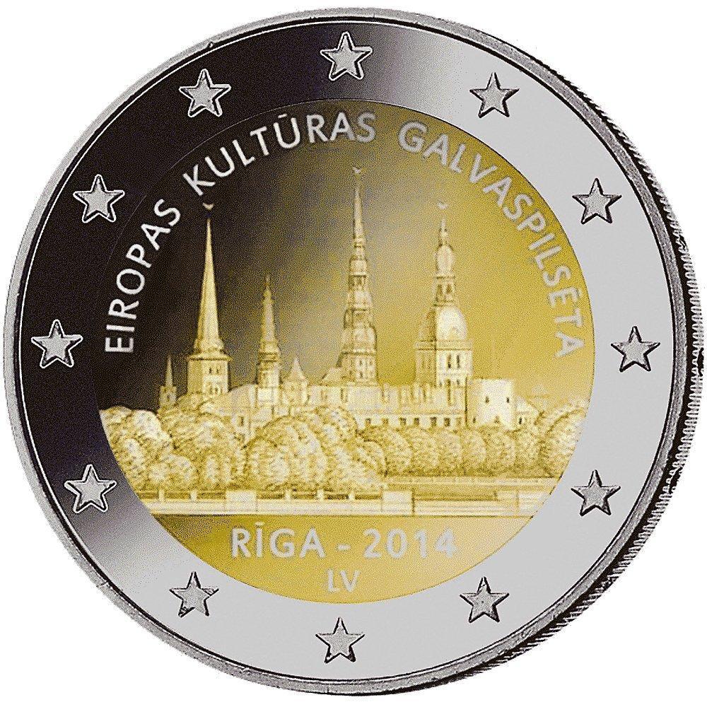 2 Euro Münze Kulturhauptstadt Riga Lettland 2014 Münzen Günstigerde