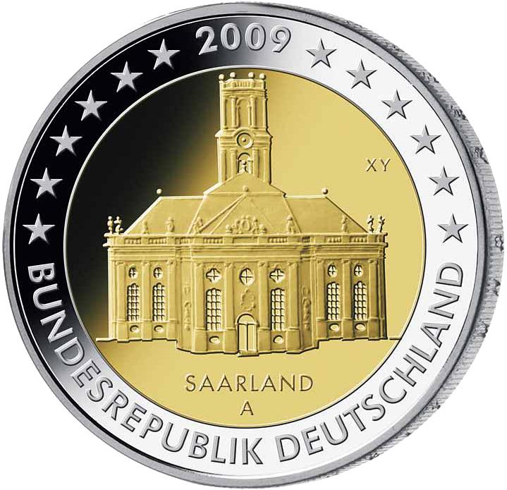 5 X 2 Deutschland 2009 Saarland Adfgj 2 Euro Münzen Euro