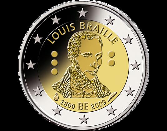 2 Euro Belgien 2009 Louis Braille Mdm Deutsche Münze