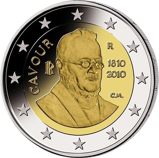 2 Euro Graf Von Cavour Italien 2010 Münzen Günstigerde