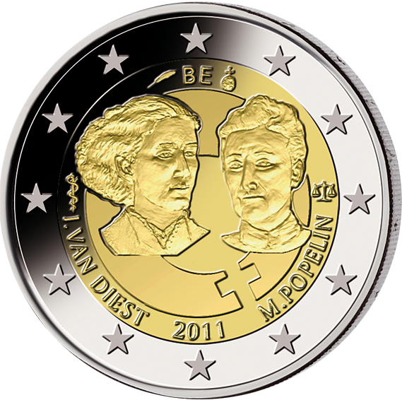 2 Euro Internat Frauentag Belgien 2011 Münzen Günstigerde
