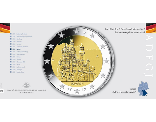 2 Euro Münze 2012 Bayern Mdm Deutsche Münze
