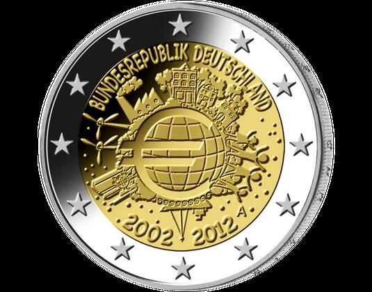 2 Euro Münze 10 Jahre Euro Mdm Deutsche Münze