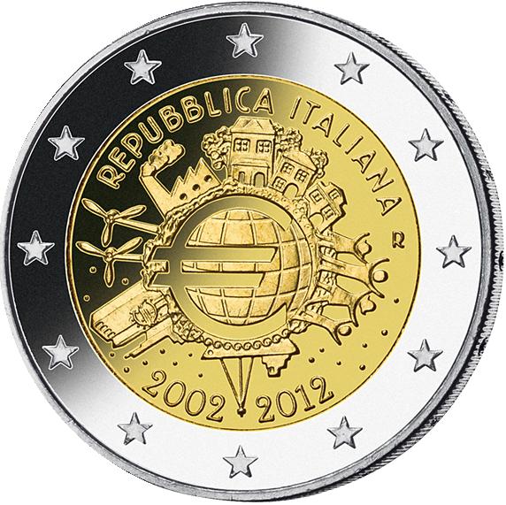2 Euro 10 Jahre Euro Italien 2012 Münzen Günstigerde