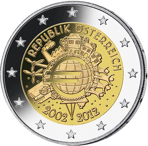 2 Euro 10 Jahre Euro Münzen Günstigerde